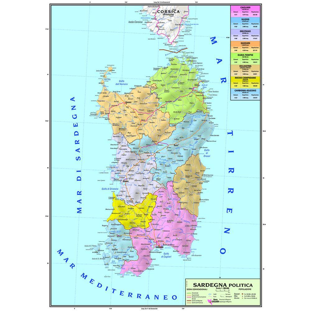 Calabria Cartina Geografica Politica.Geografia Materiale Didattico Carta Geografica Murale
