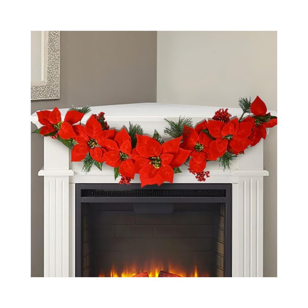 Decorazioni Natalizie Con Foto.Trade Shop Ghirlanda Natalizia Con Stella Di Natale 7 Fiori 84cm Decorazioni Natalizie Casa Eprice