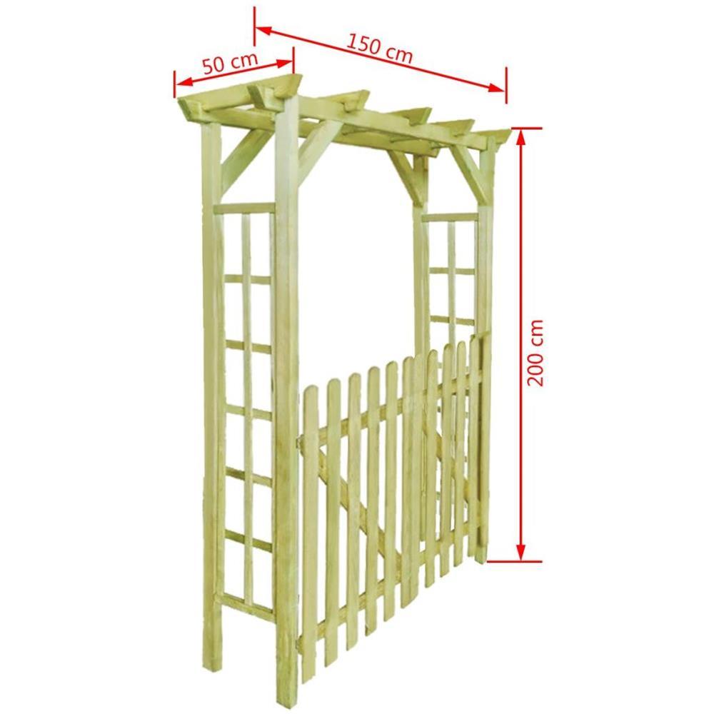 Arco Per Porta vidaxl pergola / porta ad arco da giardino per rose legno impregnato  150x50x200 cm