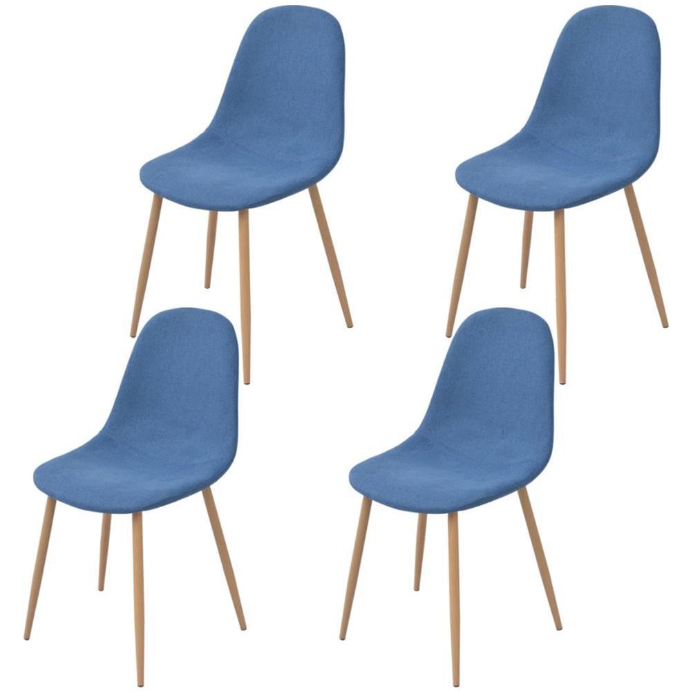 vidaXL - 4 Pz Sedie Per Sala Da Pranzo In Stoffa Blu - ePRICE