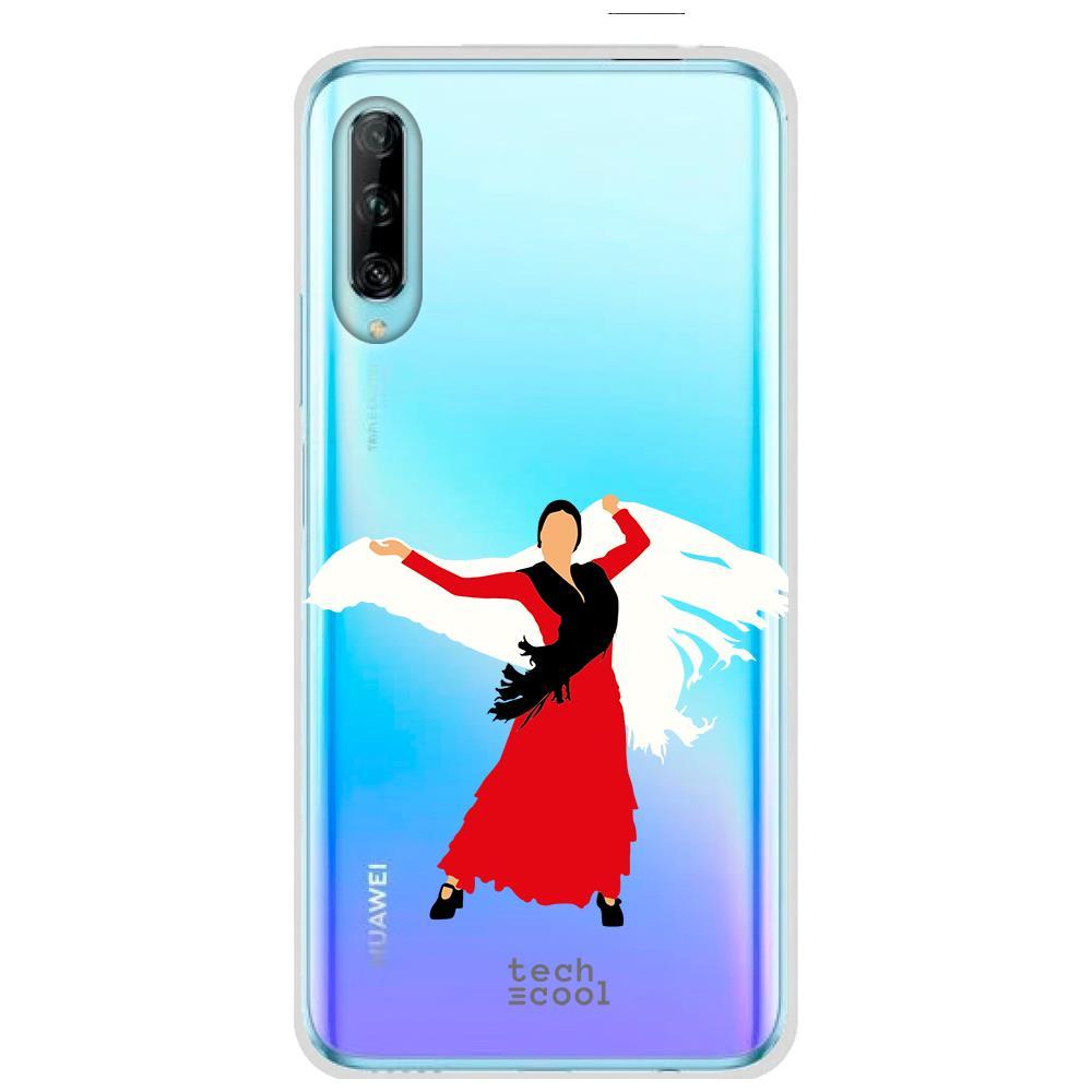Techcool Cover, Custodia Per Huawei P40 Lite L Silicone Flamenco Sfondo Rosso Trasparente