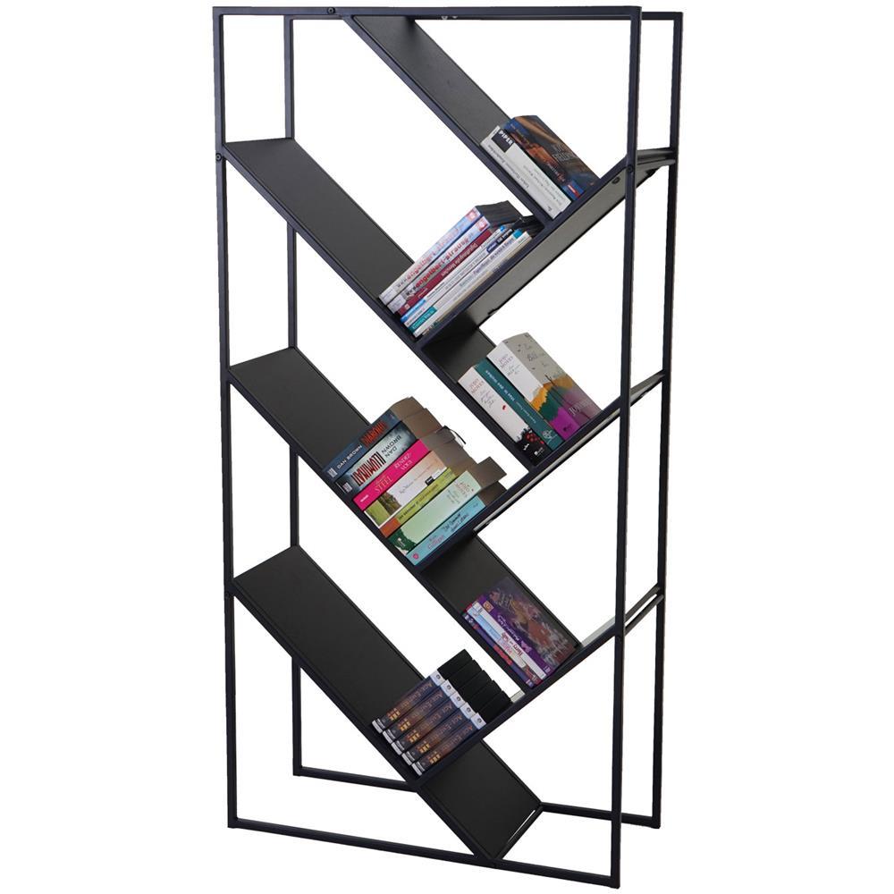 Scaffale Libreria Metallo.Mendler Libreria Scaffale Cher Design Moderno Mdf E Metallo 4 Ripiani 30x80x160cm