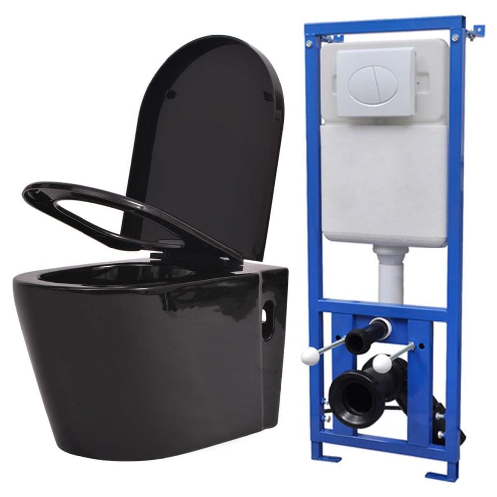 vidaXL WC Toilette in Ceramica da Bagno Nero Soft Close Sanitari Vaso Scarico