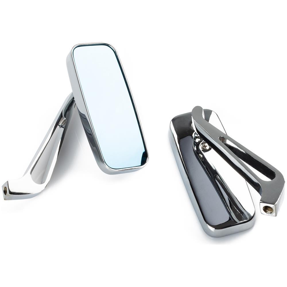 Specchietti 22mm Manubrio Moto Retrovisori Metallo Universali Ovali Argento