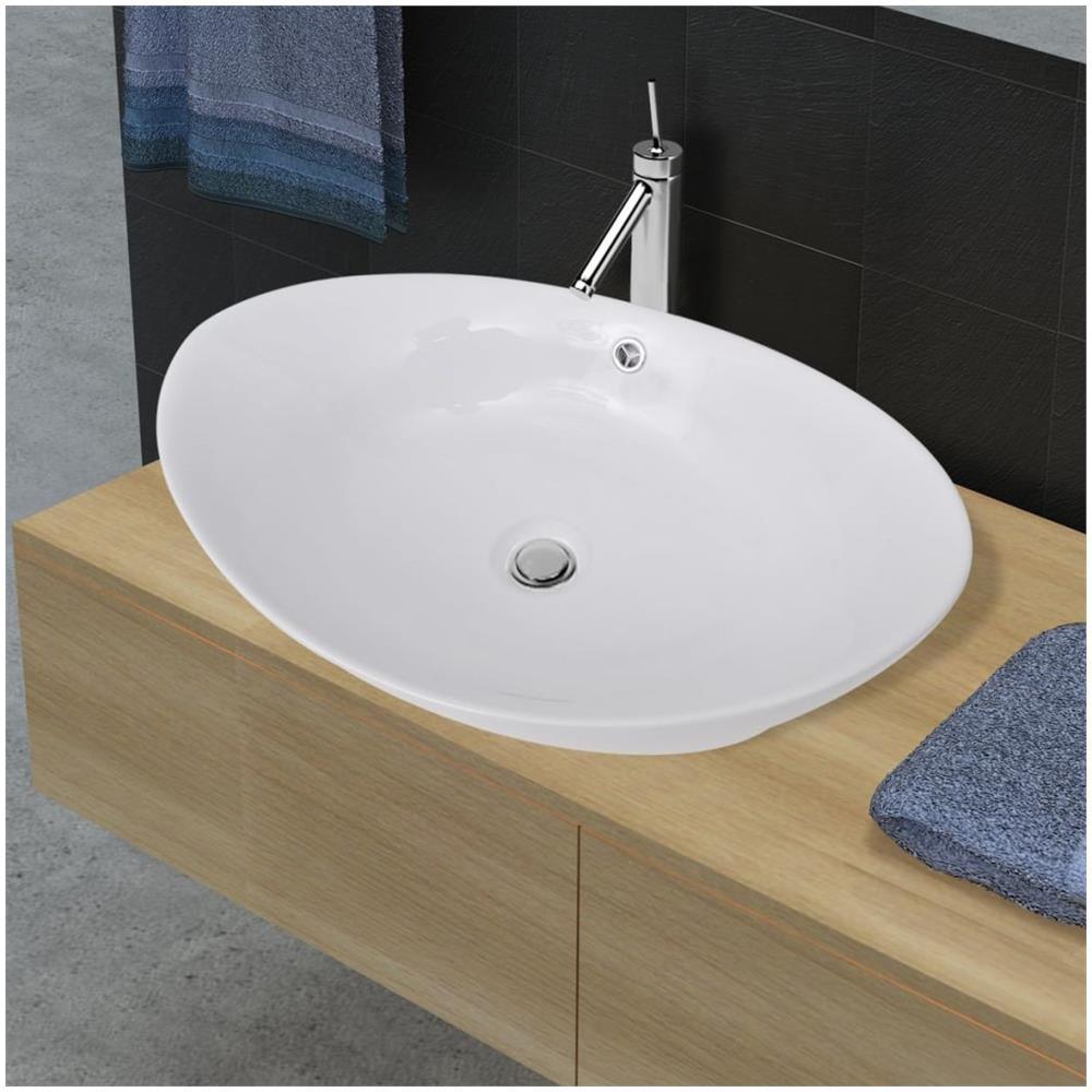 Lavello Cucina In Porcellana vidaxl lavello ovale in ceramica di lusso con troppopieno 59 x 38,5 cm