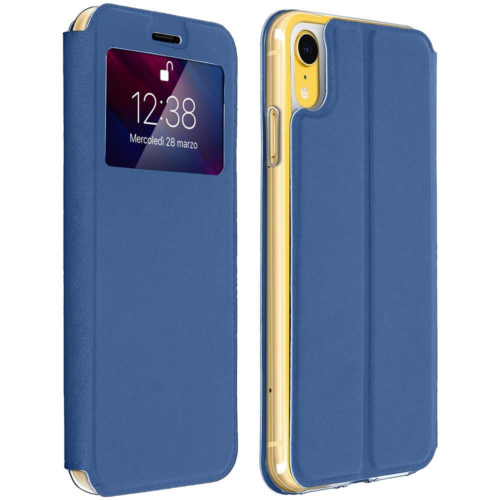 a basso prezzo f1976 65c32 Avizar Custodia Iphone Xr Finestra Porta-carte Cover Silicone Gel - Blu