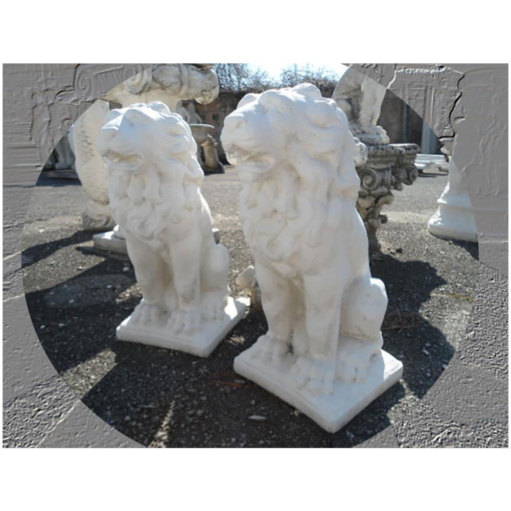 Polvere Di Marmo.Mondo Artistica Coppia Di Leoni Statue Da Giardino In Cemento Polvere Di Marmo Pietra Altezza Cm 52 Bianco
