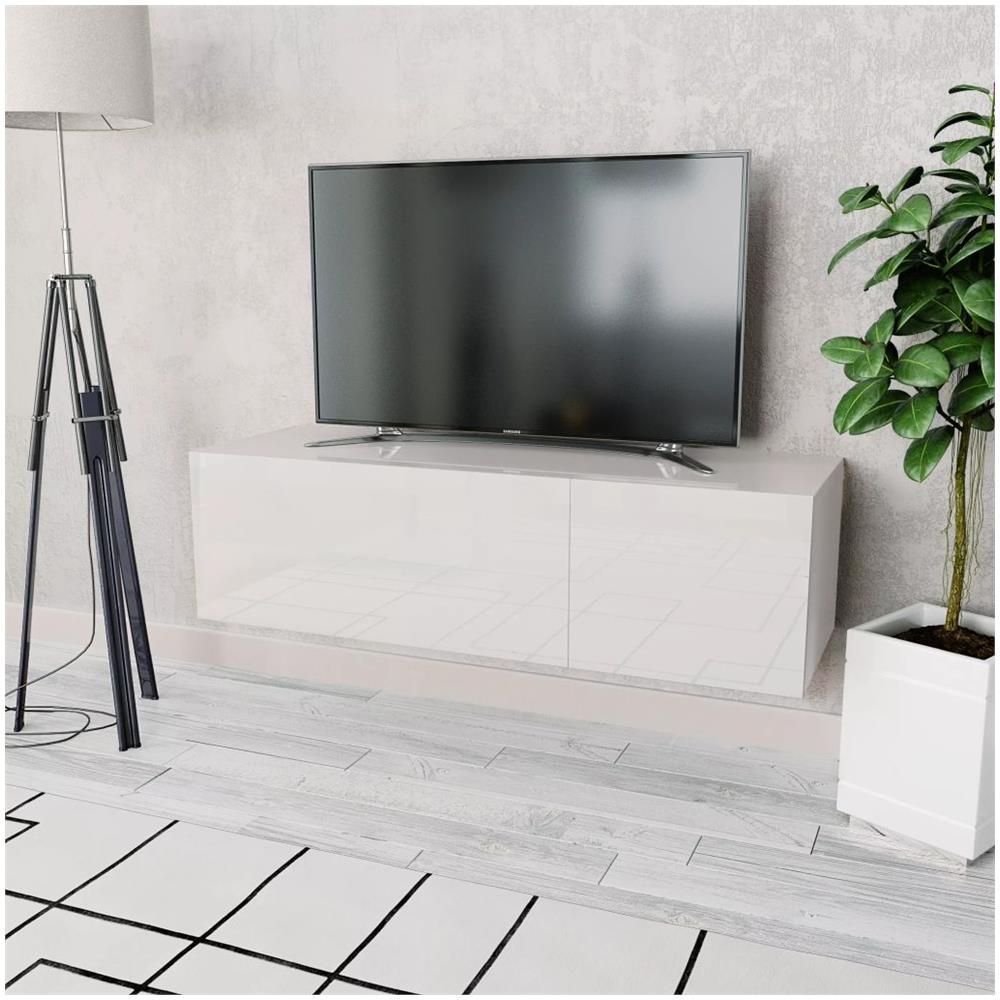 Mobile Tv Bianco Lucido.Vidaxl Mobile Tv In Truciolato 120x40x34 Cm Bianco Lucido Eprice