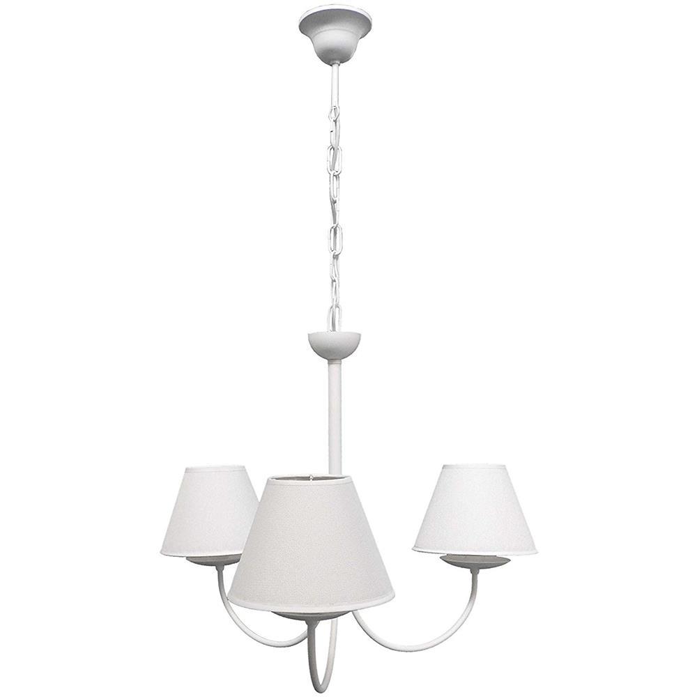 La Luce del Futuro Lampadario Shabby Bianco 3 Luci In Metallo Con Paralumi  In Tessuto Made In Italy 100%