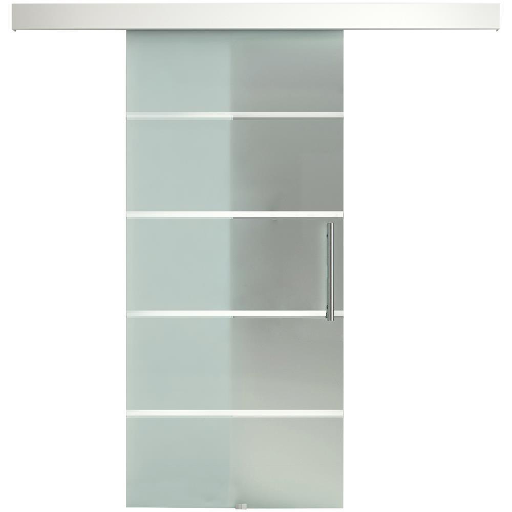Porta Scorrevole Con Binario Esterno homcom porta scorrevole in vetro a strisce con binario in alluminio,  75x210cm