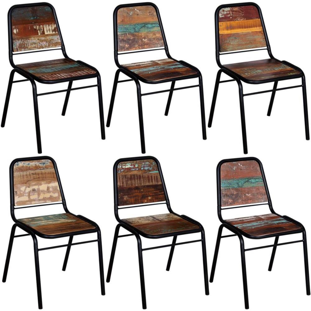 Sedie In Legno Riciclato.Vidaxl 6 Pz Sedie Sala Da Pranzo Legno Massello Riciclato 44x59x89