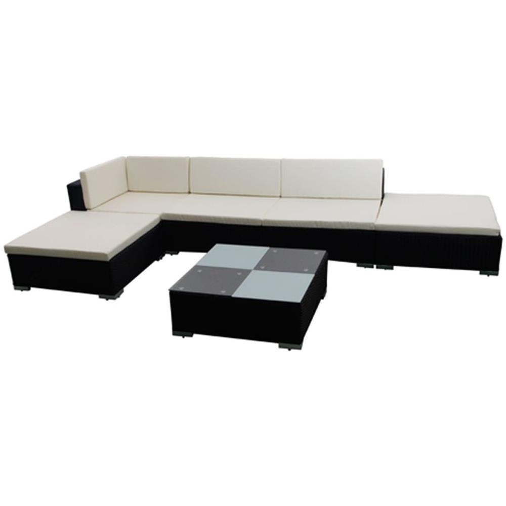 vidaXL Divano da Giardino Set 15 pz in Polirattan Bianco Sofa con Cuscini
