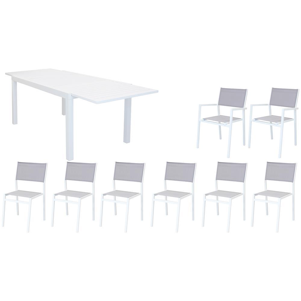 Tavolo Esterno Allungabile Bianco.Milanihome Set Tavolo Giardino Rettangolare Allungabile 160 240