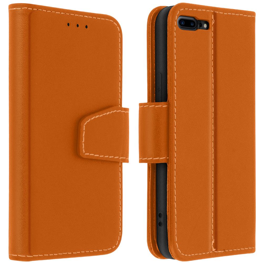 Avizar Custodia Iphone 7 Plus / 8 Plus Porta Carte Pelle Funzione Stand Premium Marrone