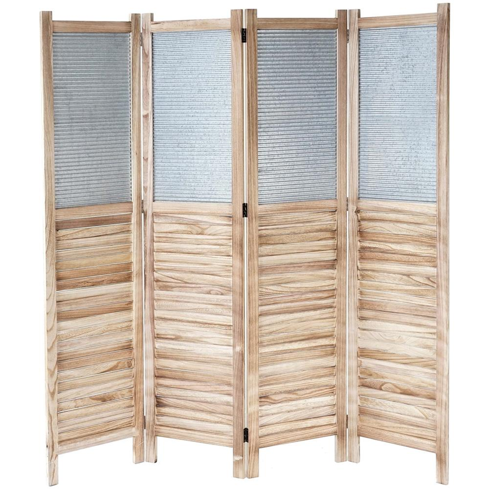 Divisori In Legno Per Interni mendler paravento divisore legno di paulonia con metallo 4 pannelli  160x170cm effetto persiane