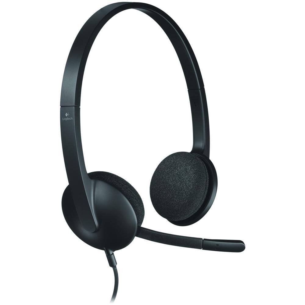 Logitech USB Headset H390 Nero Cuffie con Microfono per PC o Laptop
