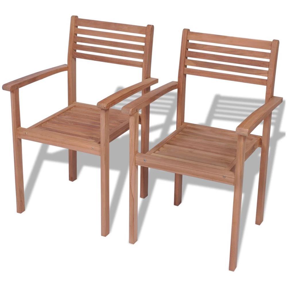 Sedie Da Giardino Impilabili.Vidaxl 2 Pz Set Sedie Da Giardino Impilabili In Legno Di Teak