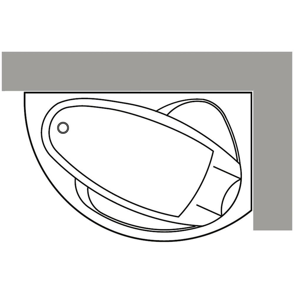 Novellini Vogue Vasca Da Bagno Versione Standard Con Telaio Misura 150x85 H55 Cm Forma Esterna Semicircolare Asimmetrica Interna Ovale Installazione Angolare Destra Pannello Frontale Colonna Rubinetteria Cuscino Materiale Acrilico Finitura Bianco