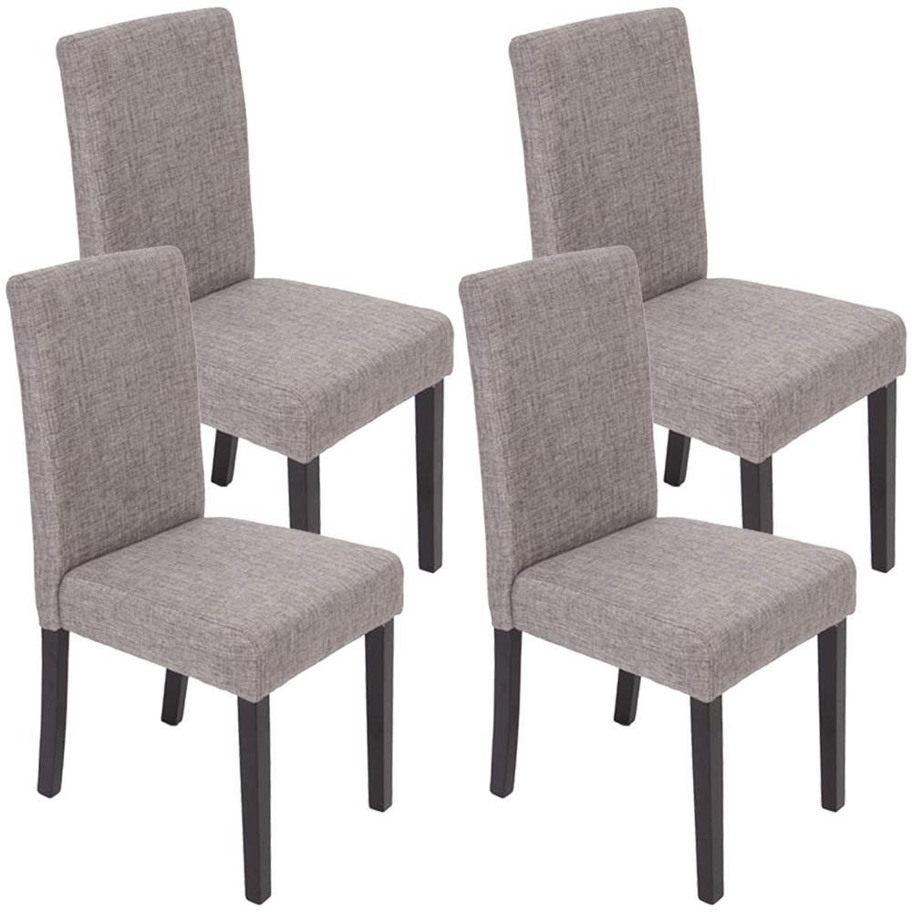 Mendler Set 4x sedie Littau tessuto per sala da pranzo 43x56x90cm grigio scritte piedi scuri