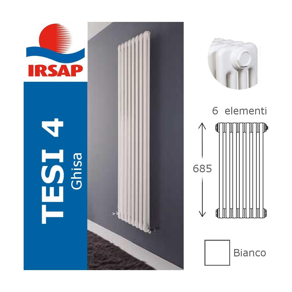Costo Termosifoni In Ghisa irsap radiatore tesi per sostituzione ghisa, a 4 colonne, bianco - 70 cm 3  elementi a magazzino