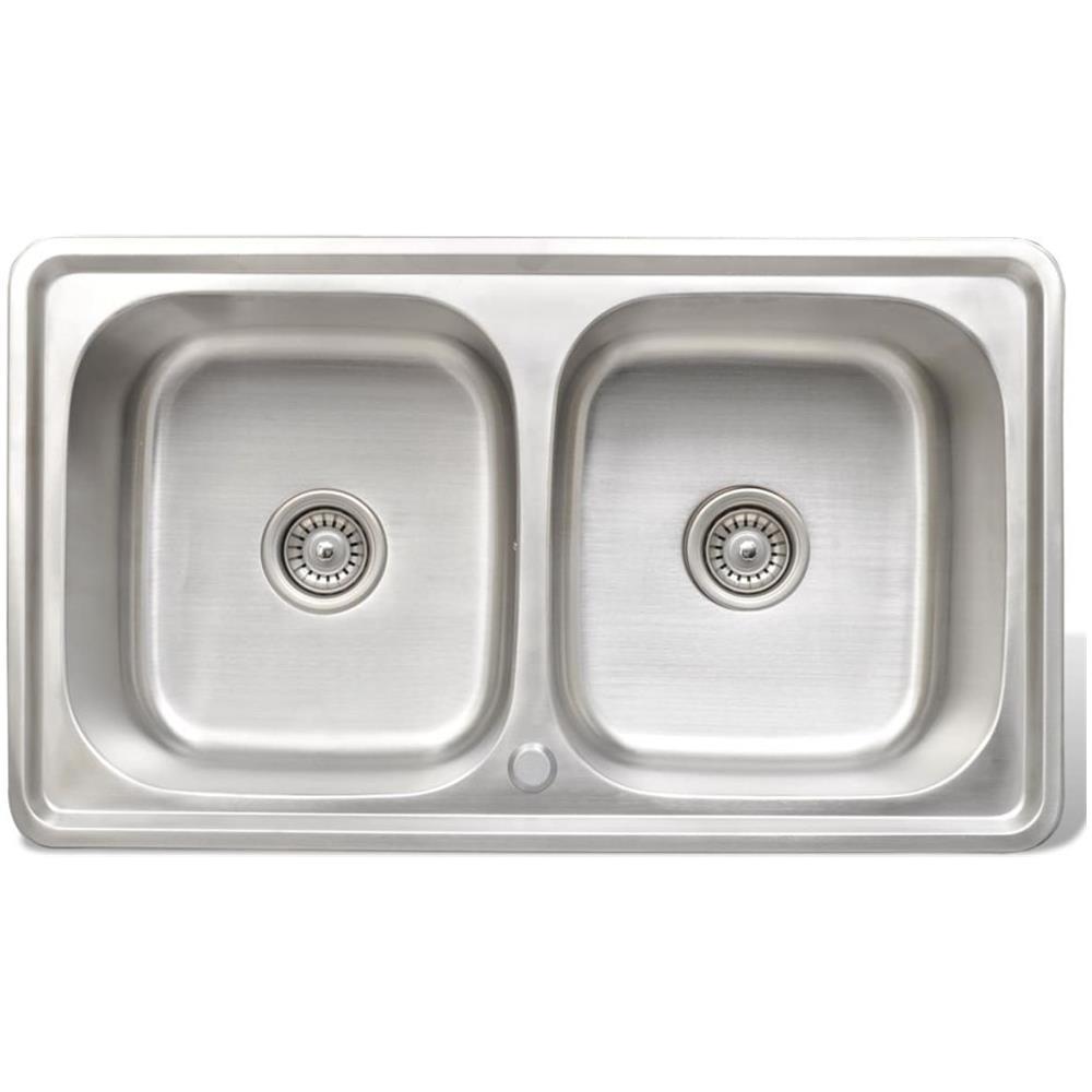 vidaXL - Lavello Doppio Quadrato Per Cucina In Acciaio Inox ...