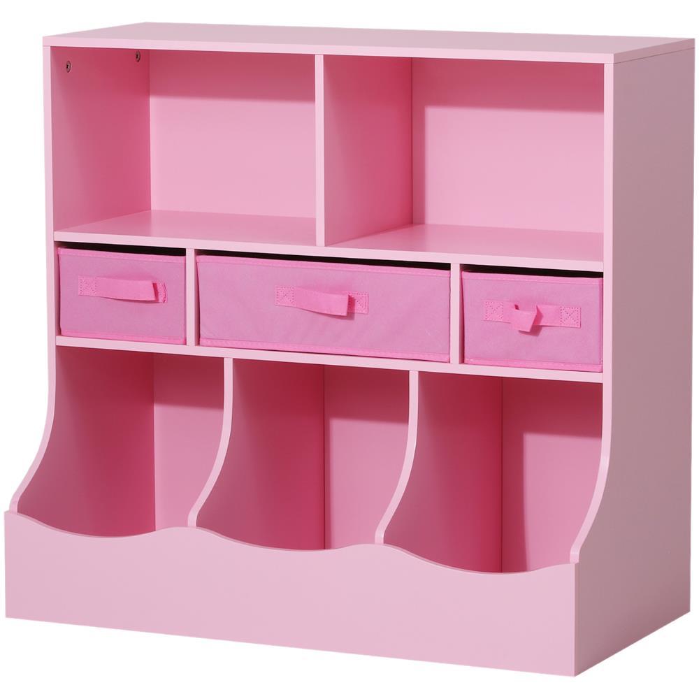 Libreria Per Libri Pesanti homcom mobiletto libreria con cassetti per cameretta bambini rosa 80 x 40 x  75 cm