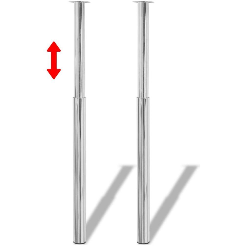 Gambe Per Tavoli In Alluminio.Vidaxl 2 Gambe Telescopiche Per Tavolo Cromate 710 Mm 1100 Mm