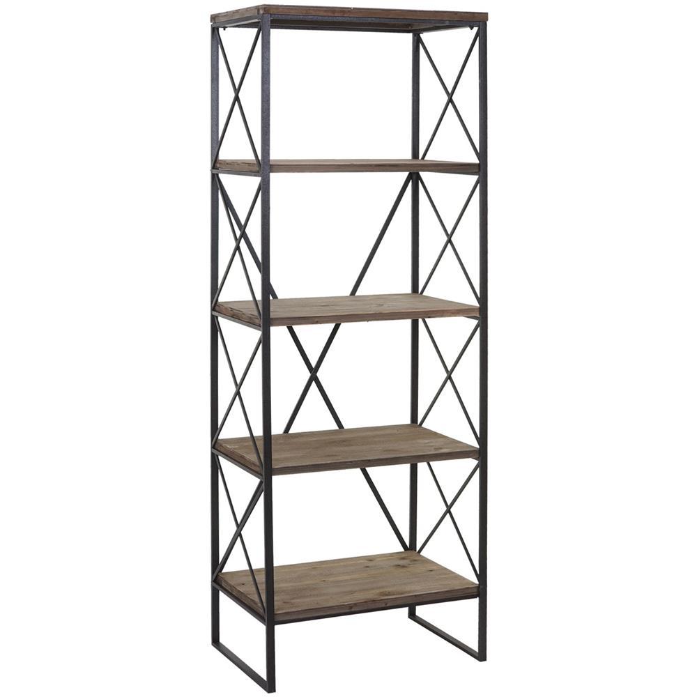 Libreria Profondità 15 Cm mendler libreria scaffale hwc-c10 legno e metallo 5 ripiani 40x60x174cm