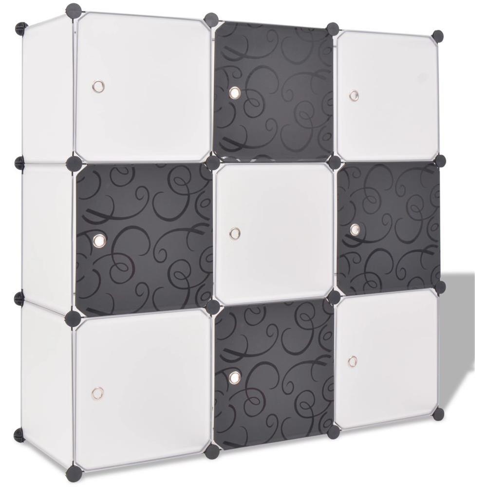 Armadio Salvaspazio In Plastica.Vidaxl Armadio Salvaspazio A Cubo Con 9 Scomparti Bianco E Nero