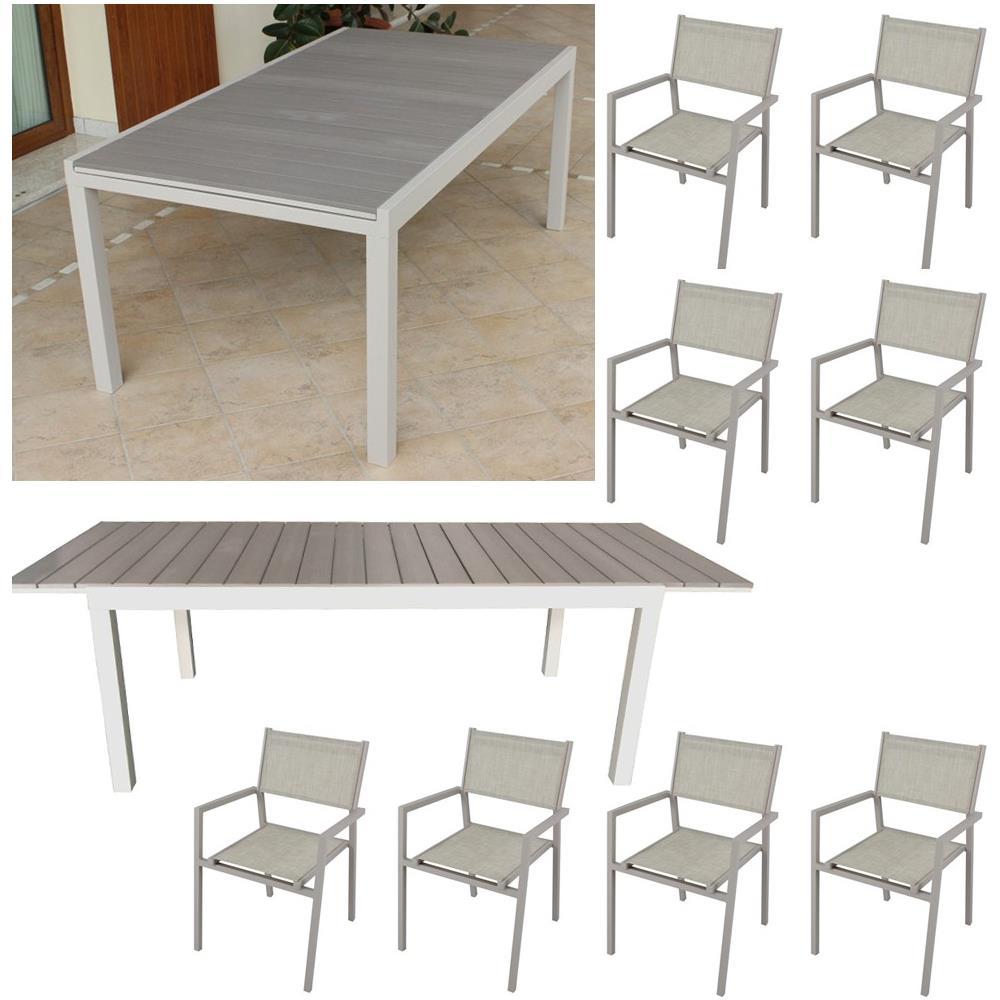 Milanihome set tavolo giardino rettangolare allungabile - Tavolo con sedie da giardino ...