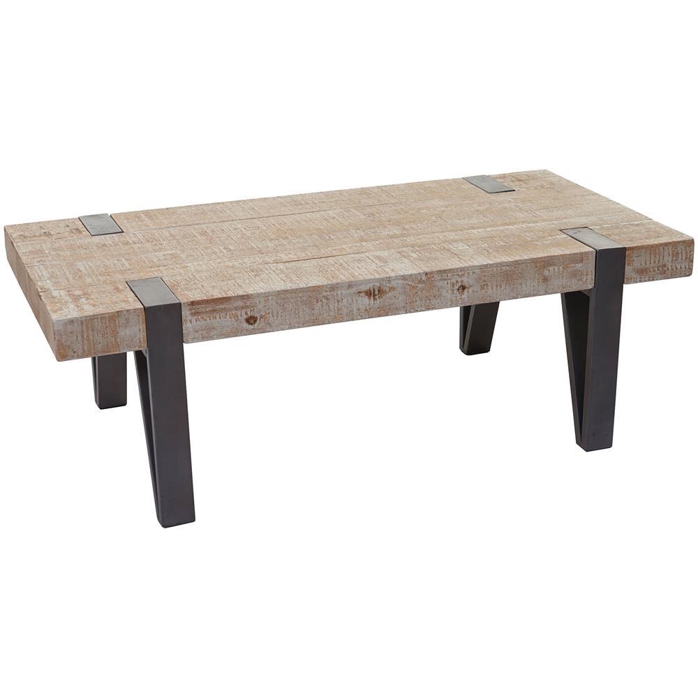Mendler Tavolino Da Salotto Hwc-a15b Legno Pino Massello 40x120x60cm Piedi  Metallo