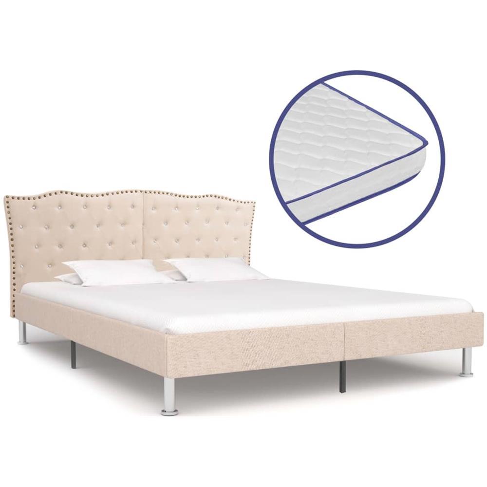 Come Pulire Materasso Memory vidaxl letto con materasso memory foam tessuto beige 160x200 cm
