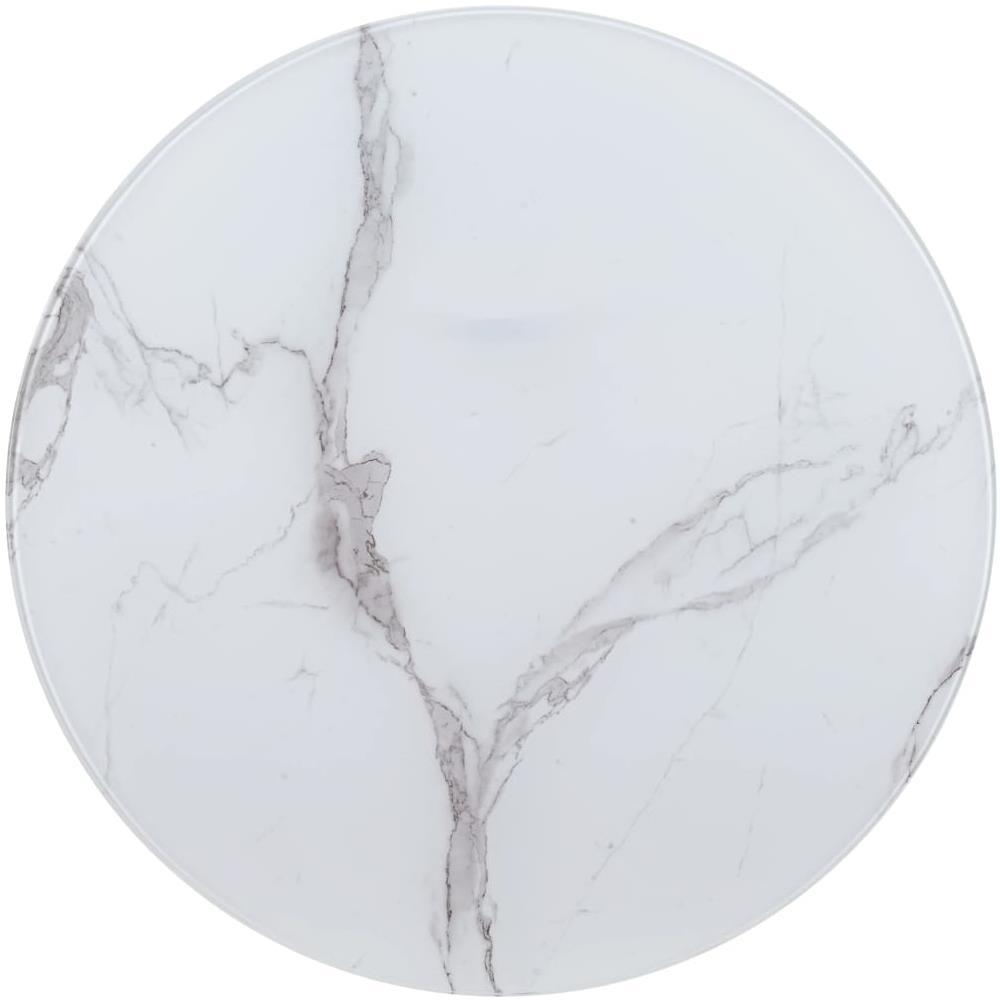 Piano Per Tavolo Vetro.Vidaxl Piano Per Tavolo Bianco O90 Cm In Vetro Aspetto Marmo