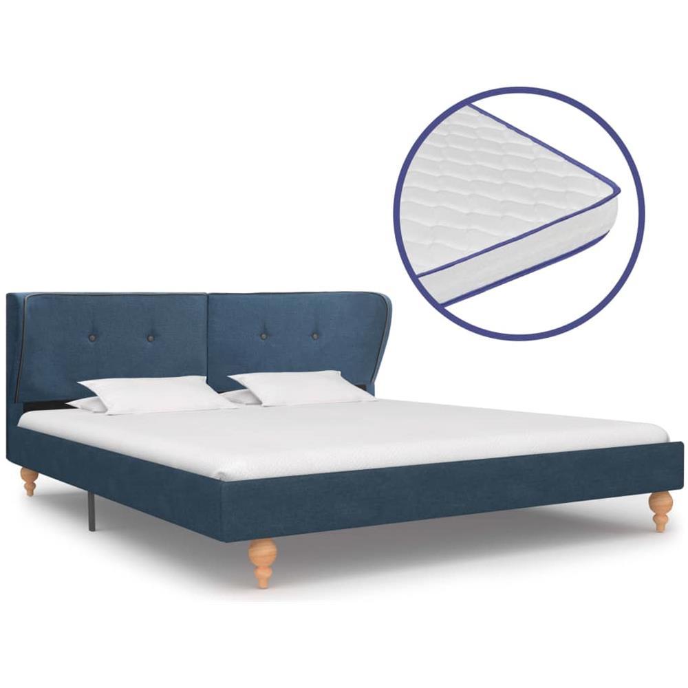 Come Pulire Materasso Memory vidaxl letto con materasso memory foam blu in tessuto 180x200 cm