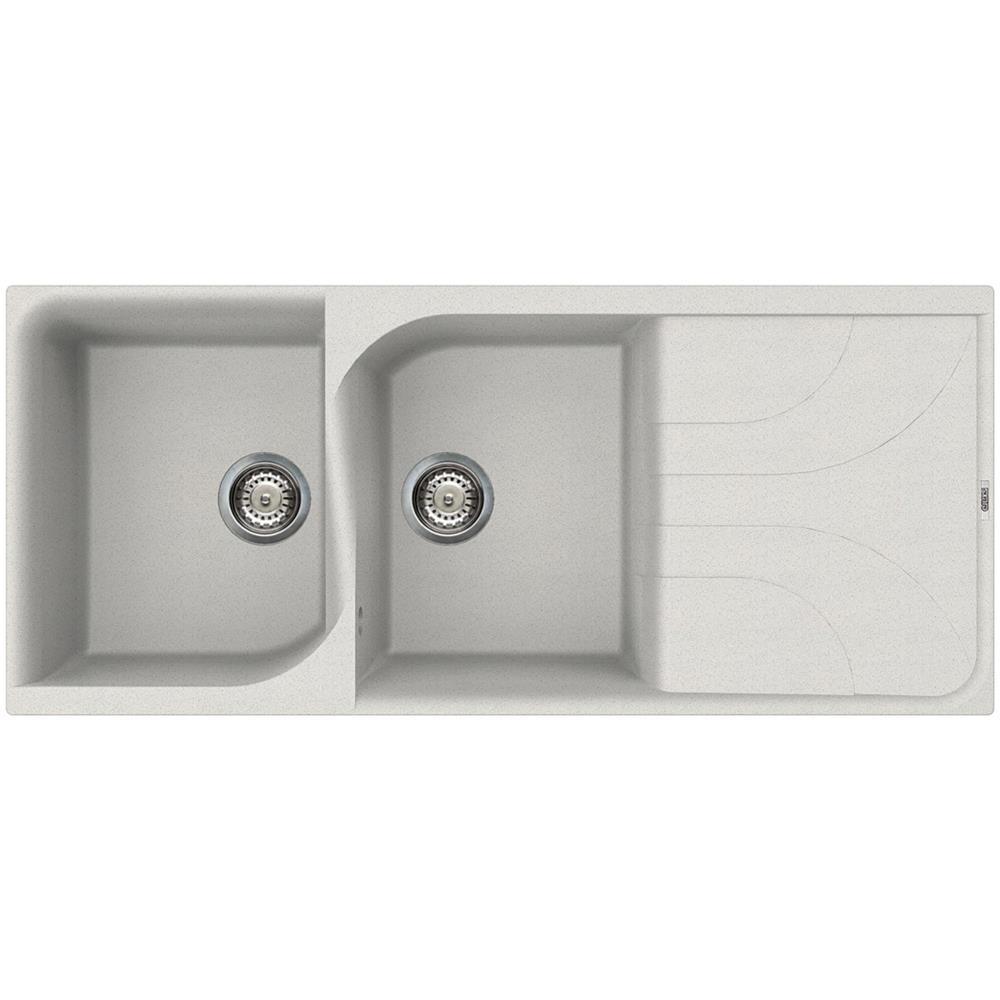 Lavandino Cucina Con Gocciolatoio elleci ego 500 lavello da incasso 2 vasche con gocciolatoio dimensioni 116  x 50 cm colore bianco
