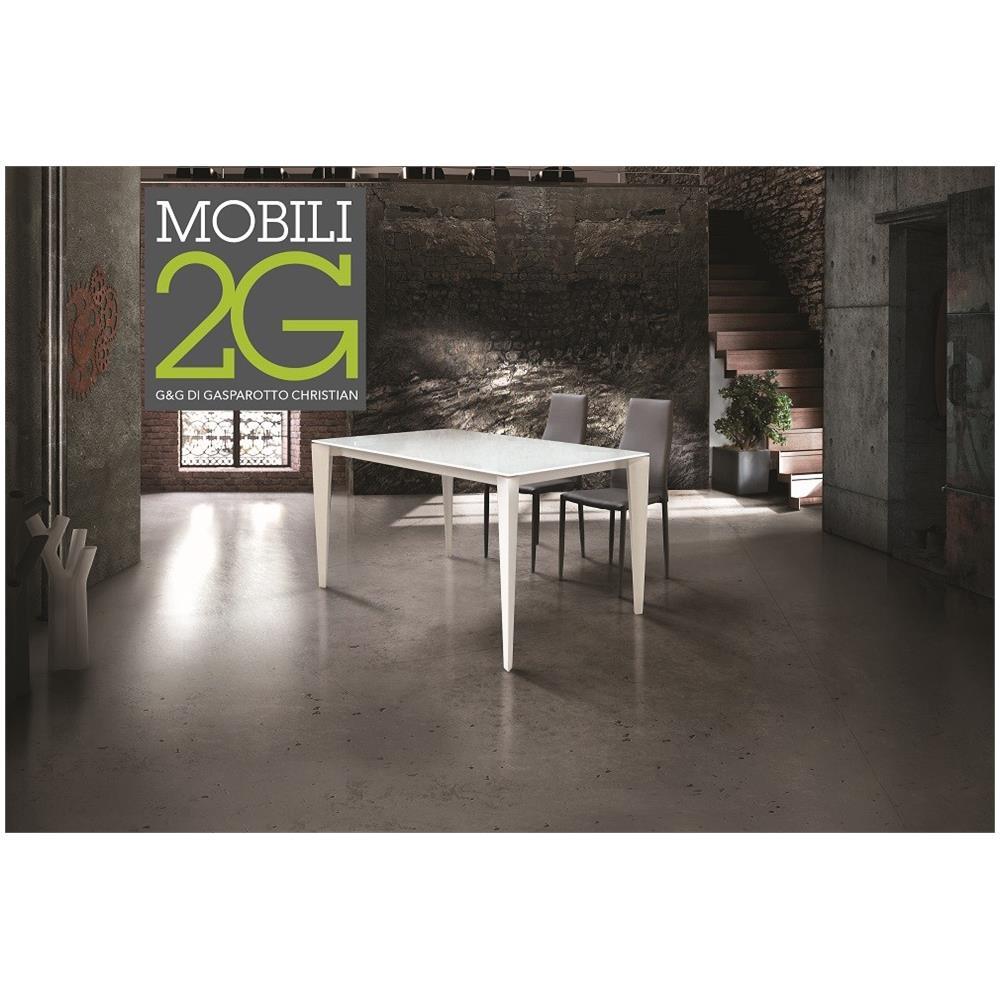 Mobili 2G - Tavolo Vetro Bianco Allungabile 160x90 - ePRICE