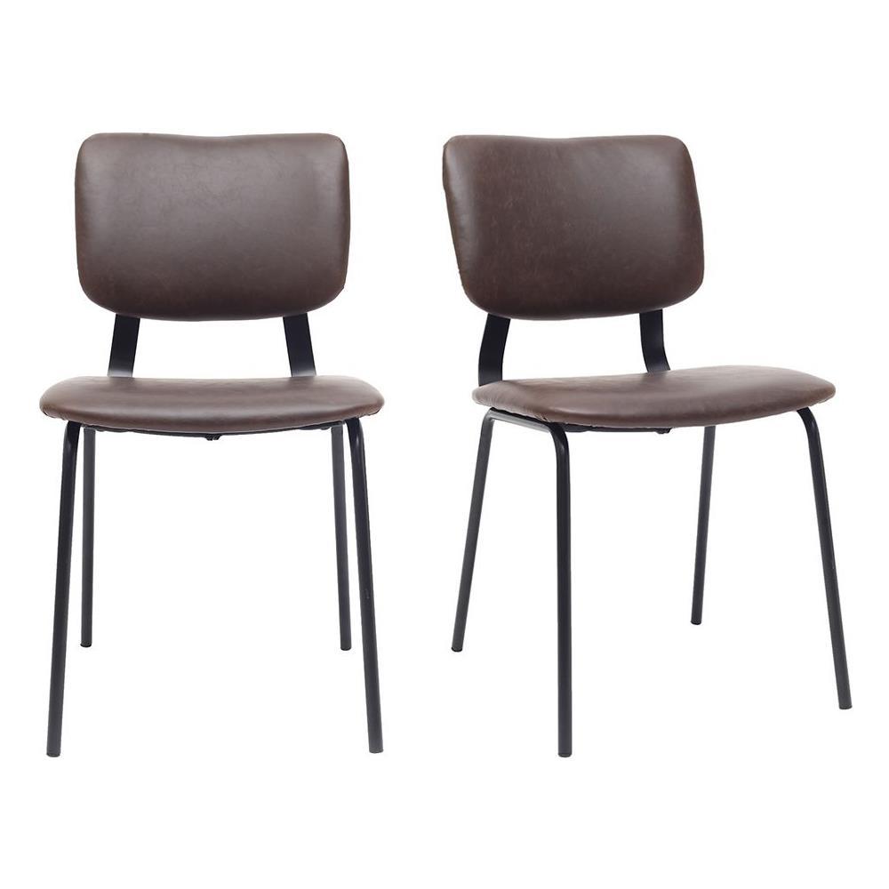 Sedie A Forma Di Sedere Costo miliboo sedie vintage marrone piedi in metallo (lotto di 2) lab