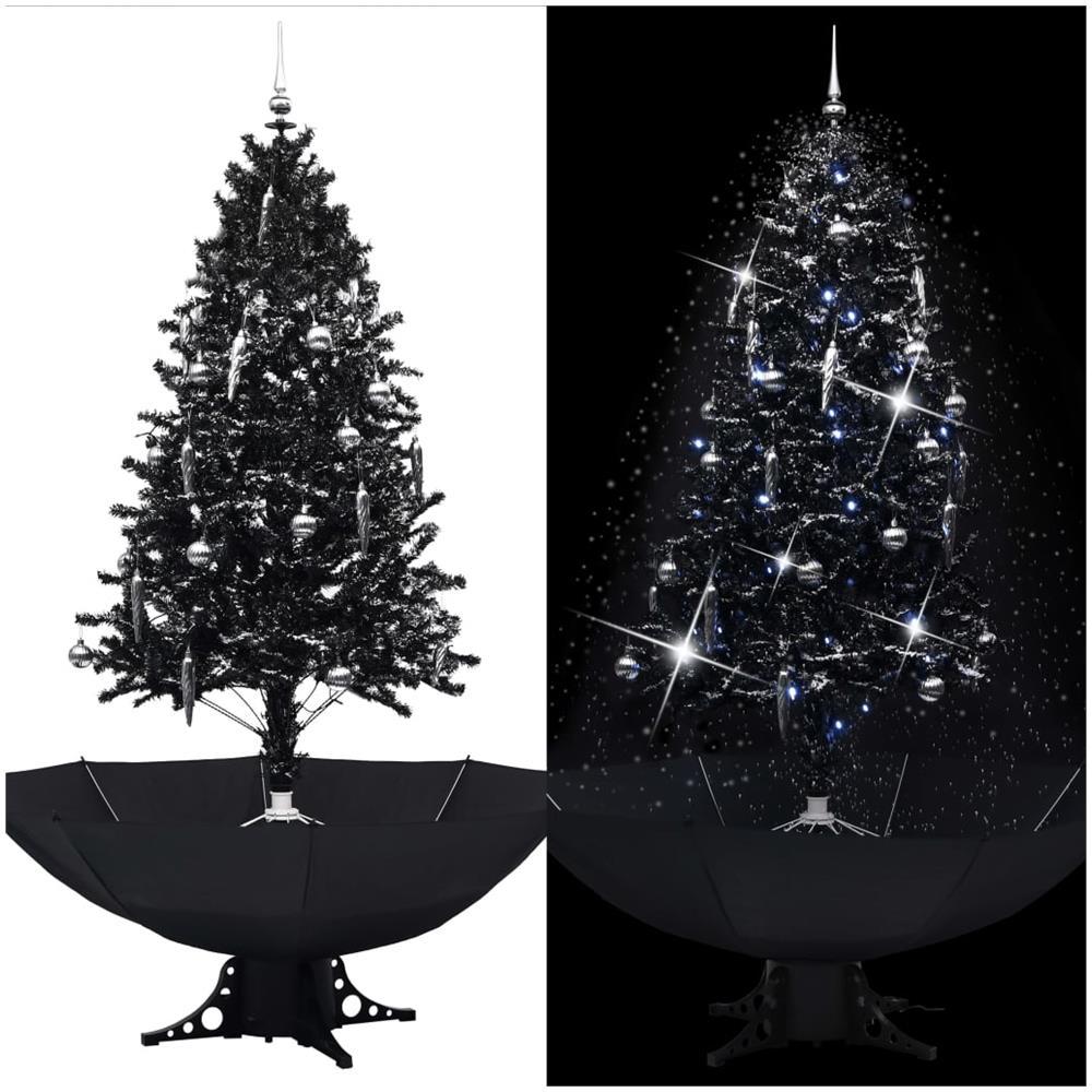 Albero Di Natale Nero.Vidaxl Albero Di Natale Con Nevicata E Base Ad Ombrello Nero 190cm Pvc Eprice