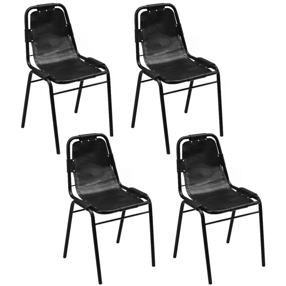 Sedie In Vera Pelle Per Sala Da Pranzo.Vidaxl Set 4 Sedie Sala Da Pranzo 49x52x88 Cm In Vera