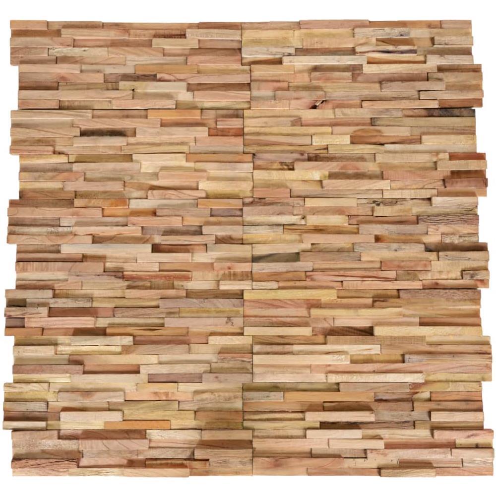 Tavole Legno Per Rivestimento Pareti vidaxl pannelli di rivestimento 3d pareti 10 pz in teak massello 1 m²