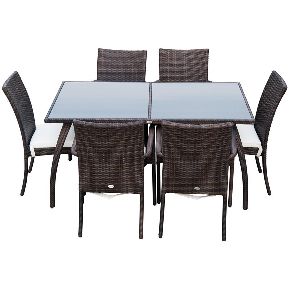 Set Pranzo Da Giardino.Outsunny Set Mobili Rattan Tavolo Da Pranzo Da Giardino Con Sedie 7pz Ergonomiche Esterno Marrone
