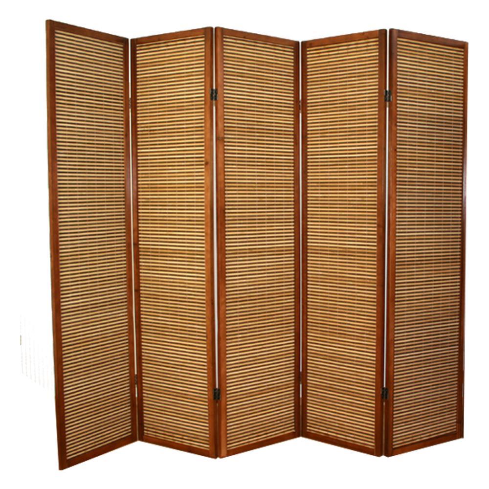 PEGANE - Paravento In Legno Marrone Bambù Di 5 Pannelli - ePRICE