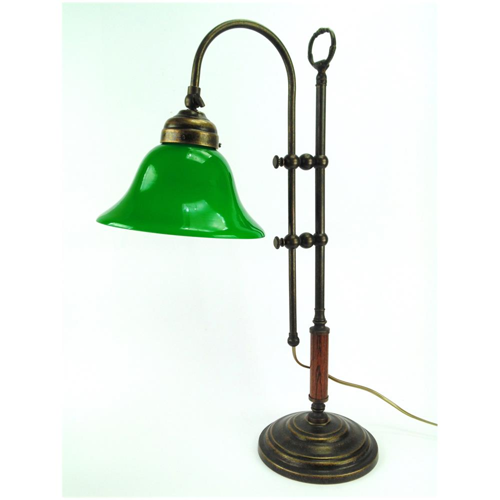 Fd bolletta SLG3 Lampada da tavolo in ottone brunito e paralume in vetro H min 56cm, H max 68cm