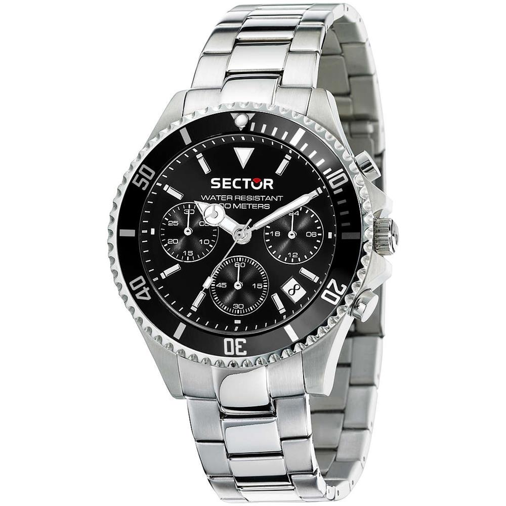 acquisto economico be553 865e6 SECTOR Orologio Cronografo Uomo Cinturino Acciaio E Quadrante Nero