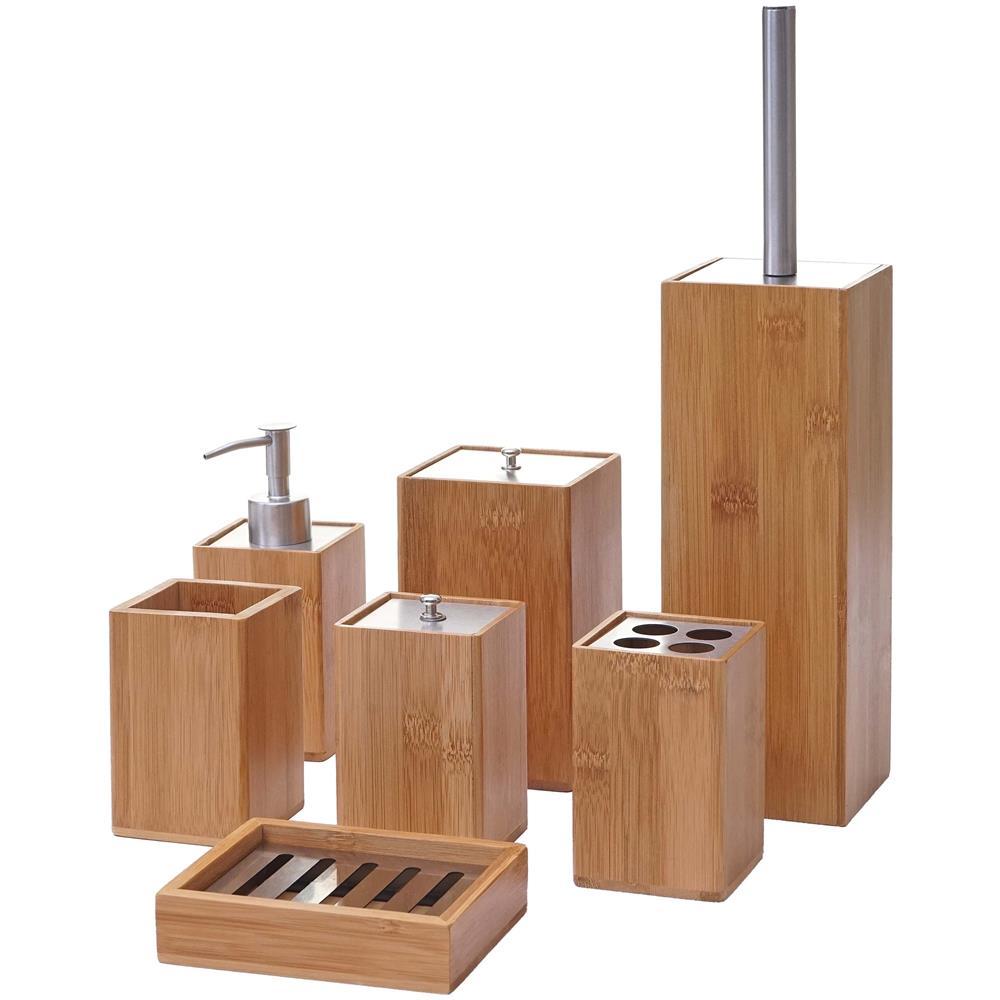 Mendler Set Accessori Da Bagno Hwc-a90 7 Pezzi Legno Bambu E Metallo