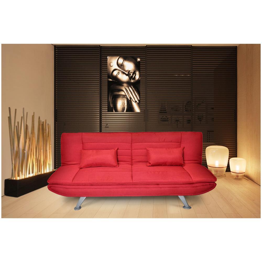 Samira - Divano letto clic clac in tessuto rosso, divano 3 posti ...