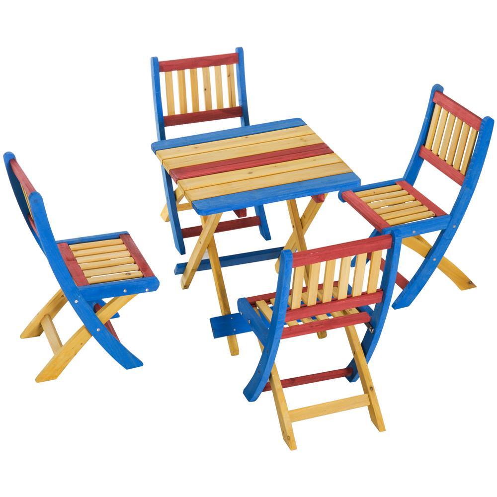 Tavoli Pieghevoli Per Bambini.Outsunny Set Tavolino Per Bambini Con 4 Sedie Pieghevoli In