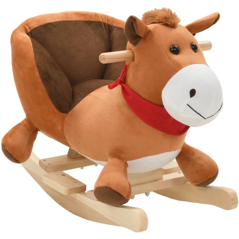 Cavallo A Dondolo In Peluche.Vidaxl Cavallo A Dondolo Con Schienale In Peluche 60x32x50cm