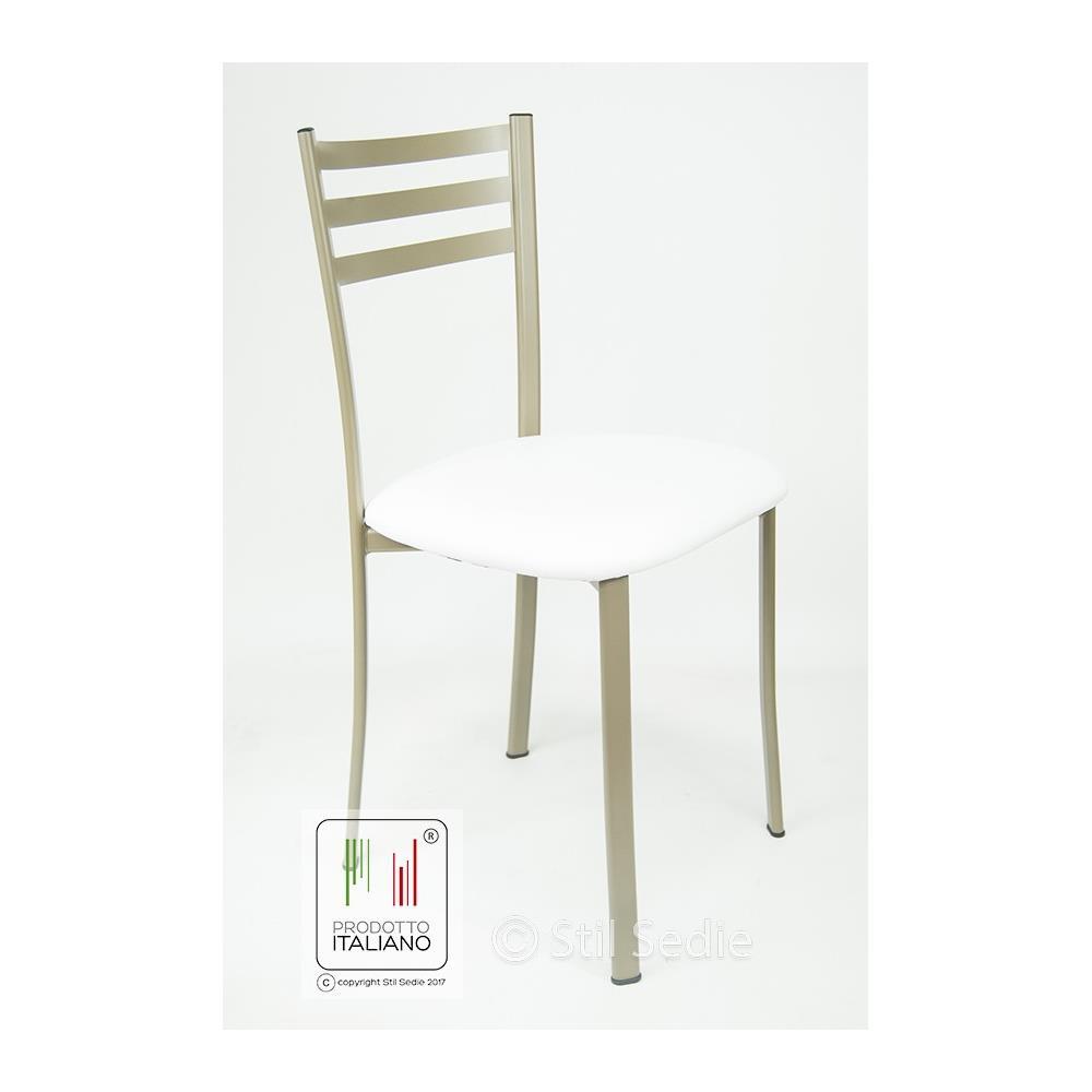 Stil Sedie - Sedia Cucina Bianca Con Seduta In Ecopelle E Struttura ...