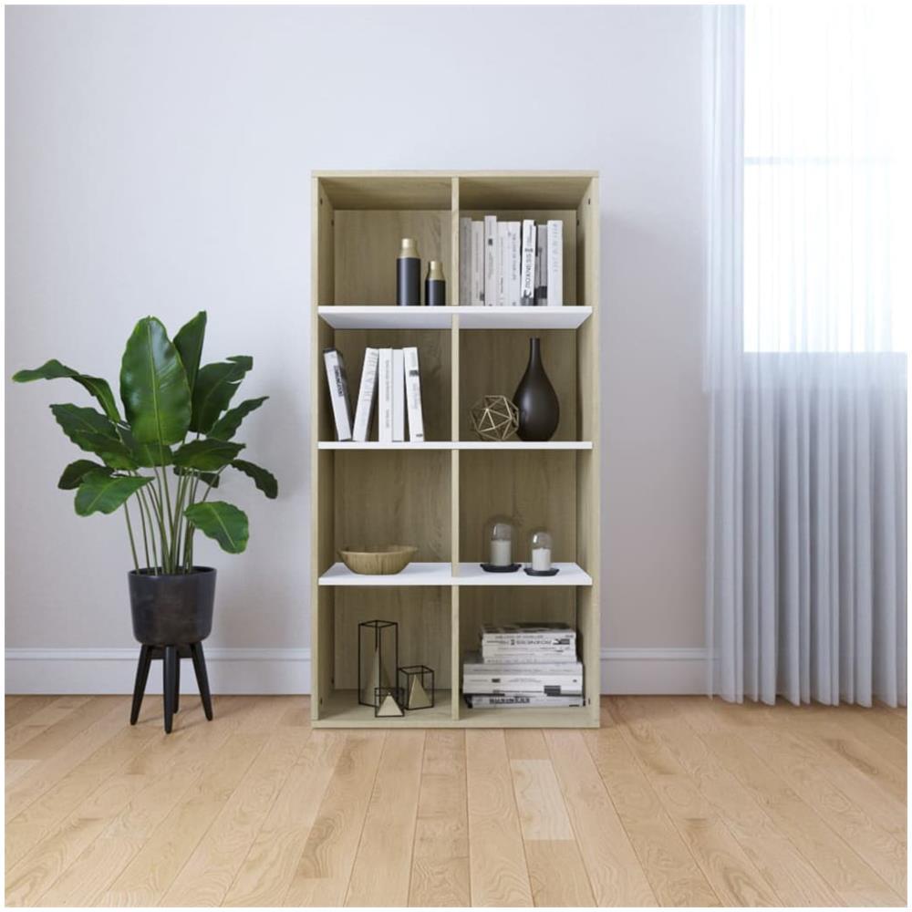 Libreria Per Libri Pesanti vidaxl libreria / credenza bianco e rovere sonoma 66x30x130cm truciolato